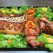 Spanferkel im Stück  gebacken mit Sauerkraut